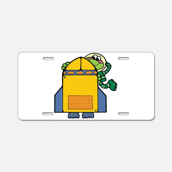 Cute Froggy and Rocket Aluminum License Plate