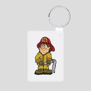 Happy Little Fireman Aluminum Photo Keychain