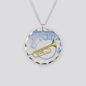 Jazz Trumpet Design Necklace Circle Charm