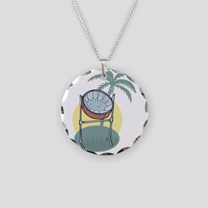 Steel Drum and Palm Tree Necklace Circle Charm