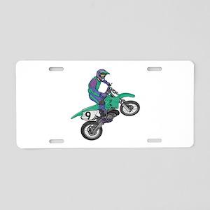 Dirt Bike Popping Wheelie Aluminum License Plate