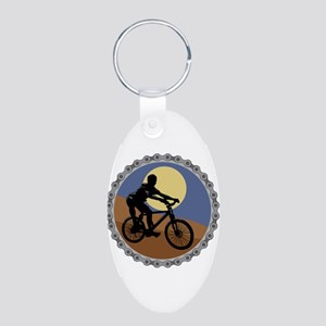 Mountain Bike Chain Design Aluminum Oval Keychain