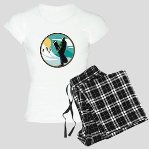 Snow Boarder Circle Design Women's Light Pajamas