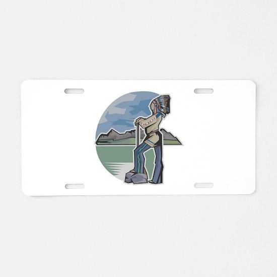 Cherokee Indian Profile Aluminum License Plate