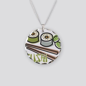 Cool Artsy Sushi Design Necklace Circle Charm