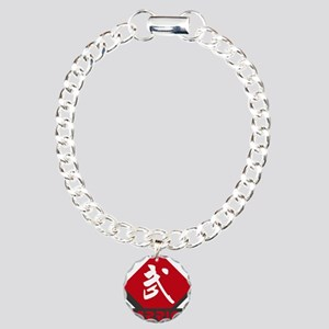 Kanji Warrior Design Charm Bracelet, One Charm