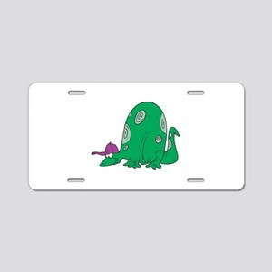Silly Dinosaur with Baseball Aluminum License Plat