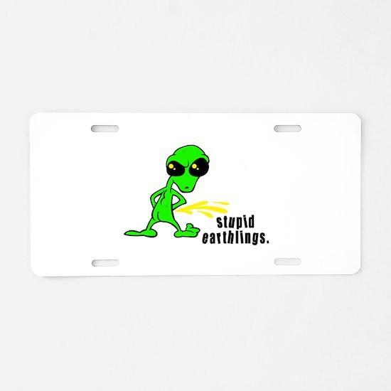 Stupid Earthlings Pissing Ali Aluminum License Pla