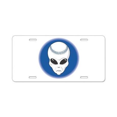 Baseball Alien Aluminum License Plate