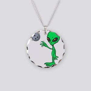 Bowling Alien Necklace Circle Charm