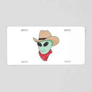 Cowboy Alien Aluminum License Plate