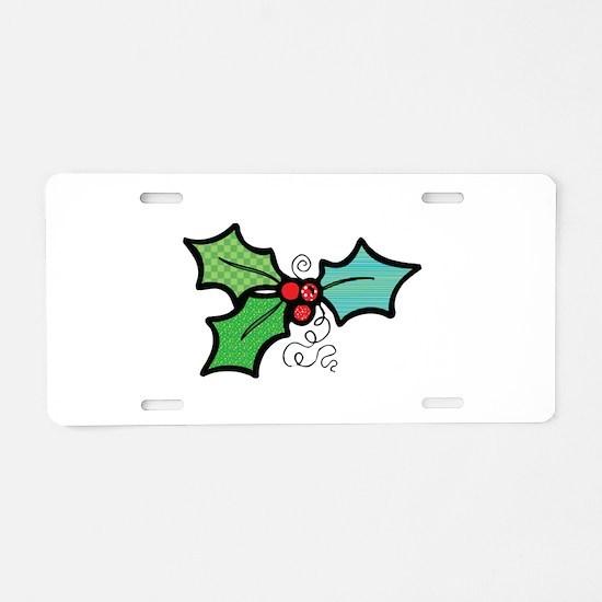 Cute Mistletoe (Holly) Design Aluminum License Pla