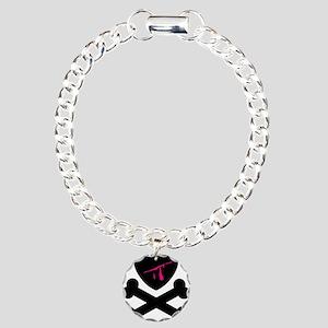 Black Bleeding Poison Heart C Charm Bracelet, One