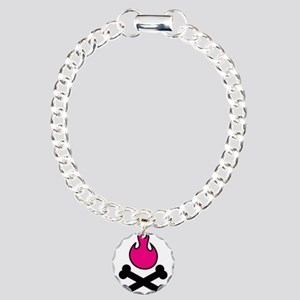 Pink Poison Flames and Crossb Charm Bracelet, One