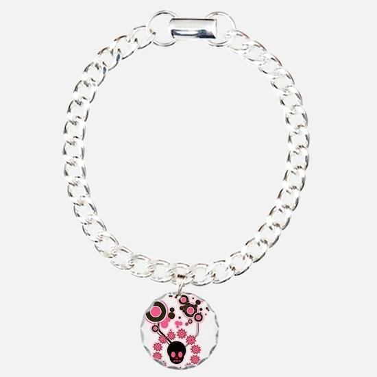 Pink and Black Skull Flowers Charm Bracelet, One C