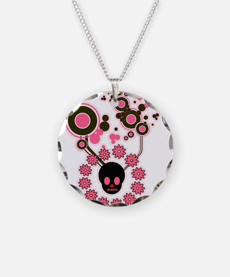 Pink and Black Skull Flowers Necklace Circle Charm