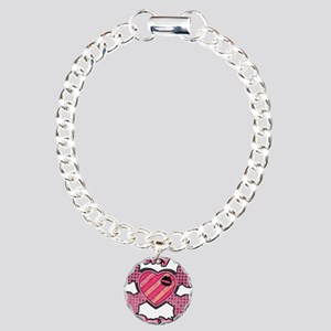 Pretty in Punk Heart and Cros Charm Bracelet, One