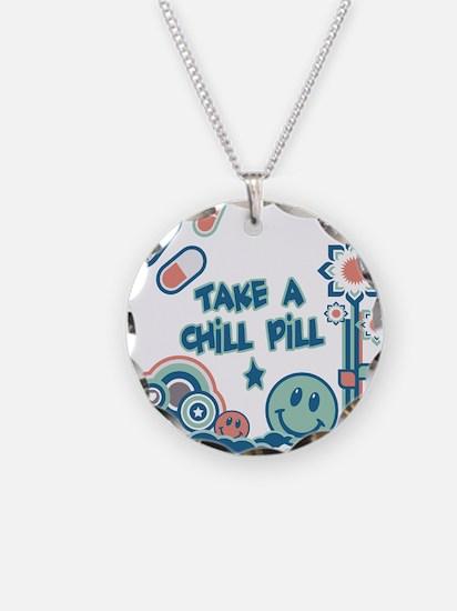 Chill Pill Retro Collage Desi Necklace Circle Char