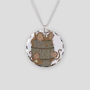 Cute Barrel of Monkeys Necklace Circle Charm
