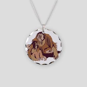 Daddy & Baby Orangutan Necklace Circle Charm
