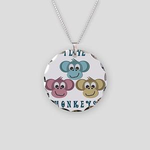 I love Monkeys Retro Style Necklace Circle Charm