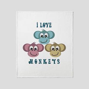 I love Monkeys Retro Style Throw Blanket