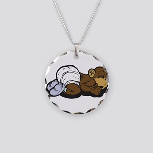Cute Sleeping Baby Monkey Necklace Circle Charm