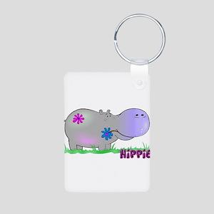 Hippie Hippo Aluminum Photo Keychain