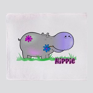 Hippie Hippo Throw Blanket