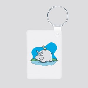 Cute Wading Hippo and Ducky Aluminum Photo Keychai