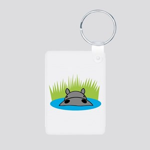 Hippo in Water Aluminum Photo Keychain
