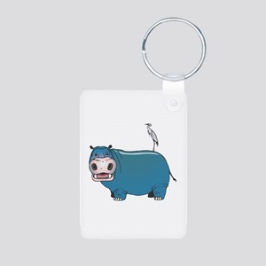 Hippo and Crane Aluminum Photo Keychain