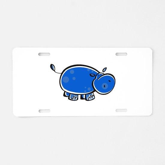 Bright Blue Hippo Aluminum License Plate