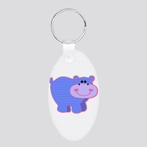 Blue Striped Hippo Aluminum Oval Keychain