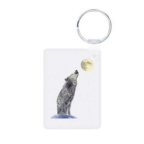 Wolf Howling at Full Moon Aluminum Photo Keychain