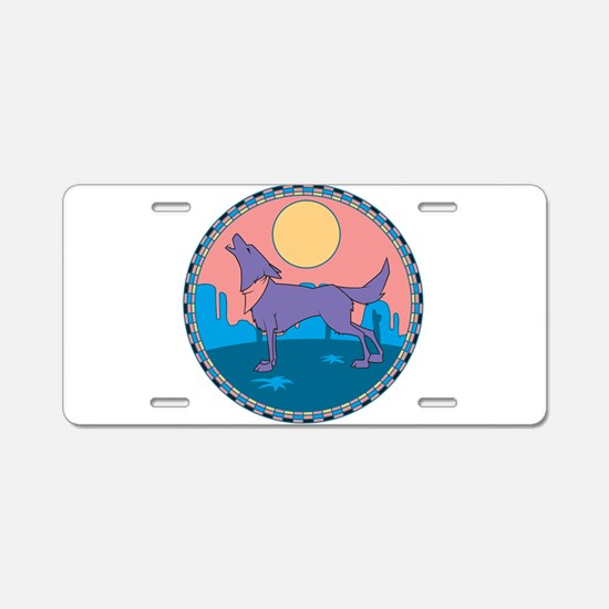 Colorful Howling Coyote Desig Aluminum License Pla