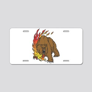 Flames and Grizzly Bear Desig Aluminum License Pla