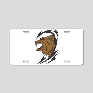 Tribal Grizzly Bear Design Aluminum License Plate