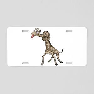 Goofy Giraffe in Knots Aluminum License Plate