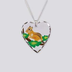 Cute Chipmunk in Tree Necklace Heart Charm