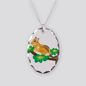 Cute Chipmunk in Tree Necklace Oval Charm