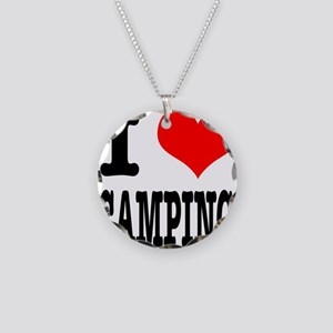 I Heart (Love) Camping Necklace Circle Charm