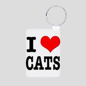 I Heart (Love) Cats Aluminum Photo Keychain