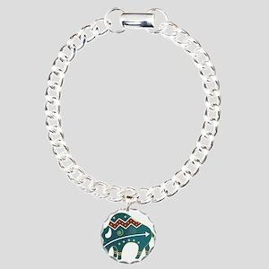 Native Buffalo Design Charm Bracelet, One Charm
