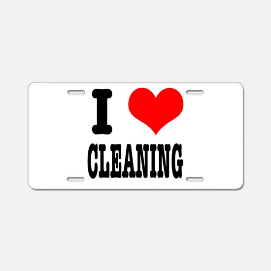 I Heart (Love) Cleaning Aluminum License Plate