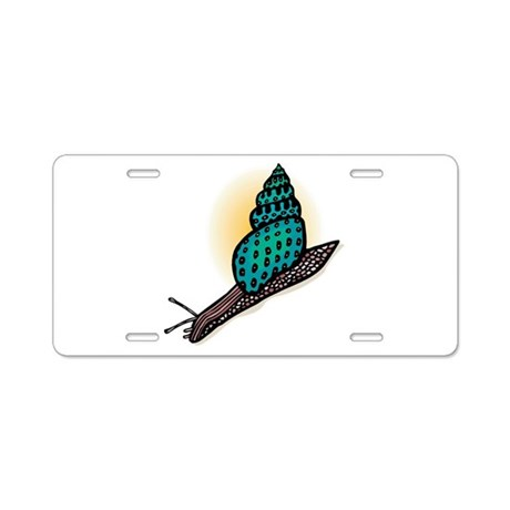 Pretty Turquoise Snail Aluminum License Plate