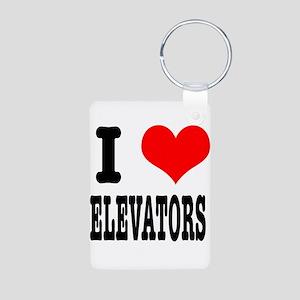 I Heart (Love) Elevators Aluminum Photo Keychain