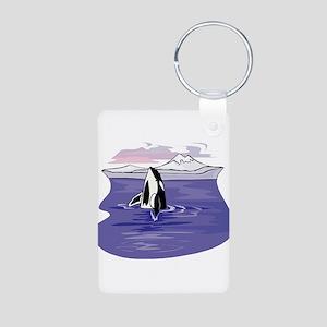 Scenic Orca Design Aluminum Photo Keychain