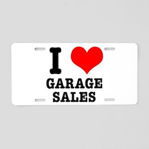 I Heart (Love) Garage Sales Aluminum License Plate