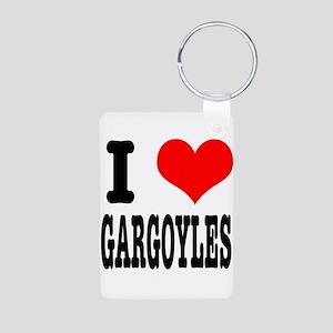I Heart (Love) Gargoyles Aluminum Photo Keychain
